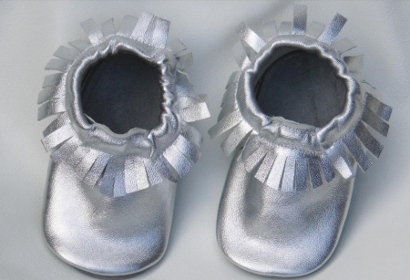 HANDMADE UNISEX BABY MOCCASINS - SILVER
