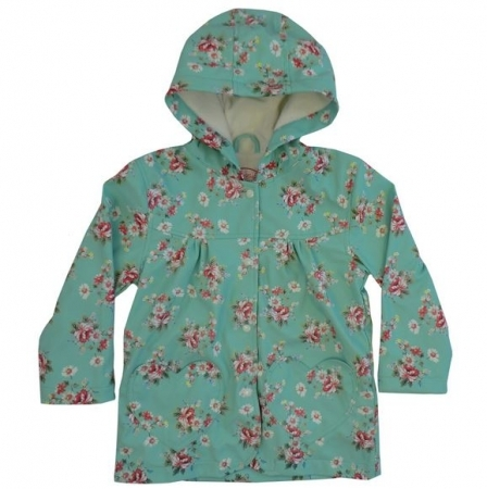 VINTAGE FLORAL PRINT RAINCOAT (BLUE)