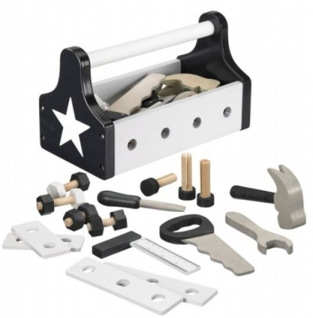 MONOCHROME WOODEN TOY TOOLKIT