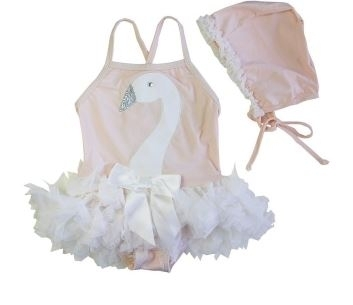 SWAN PRINCESS - vintage style swimsuit and hat