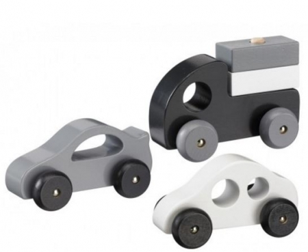 MONOCHROME WOODEN CARS WITH STACKING LORRY
