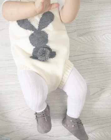 Knitted Bunny Romper - Cream